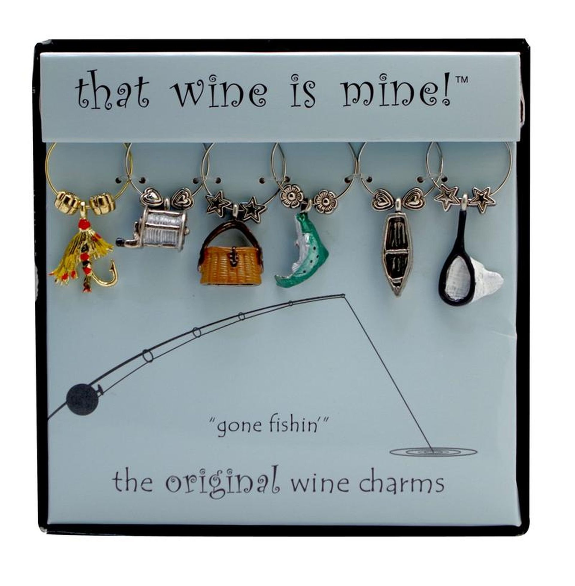 Wine Things 6-Piece Gone Fishin' Wine Charms, Painted
