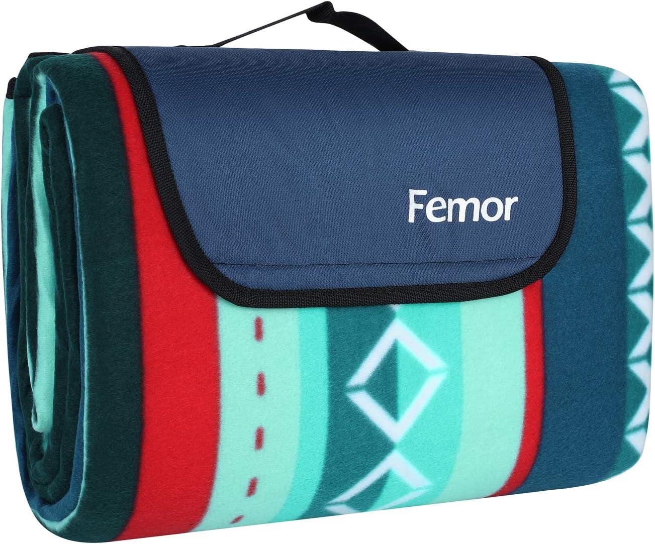 Femor Manta de Picnic 200 x200cm Impermeable con Base de Aluminio Duradera, Alfombra Plegable para Camping Playa Parque (Rayas Verdes)