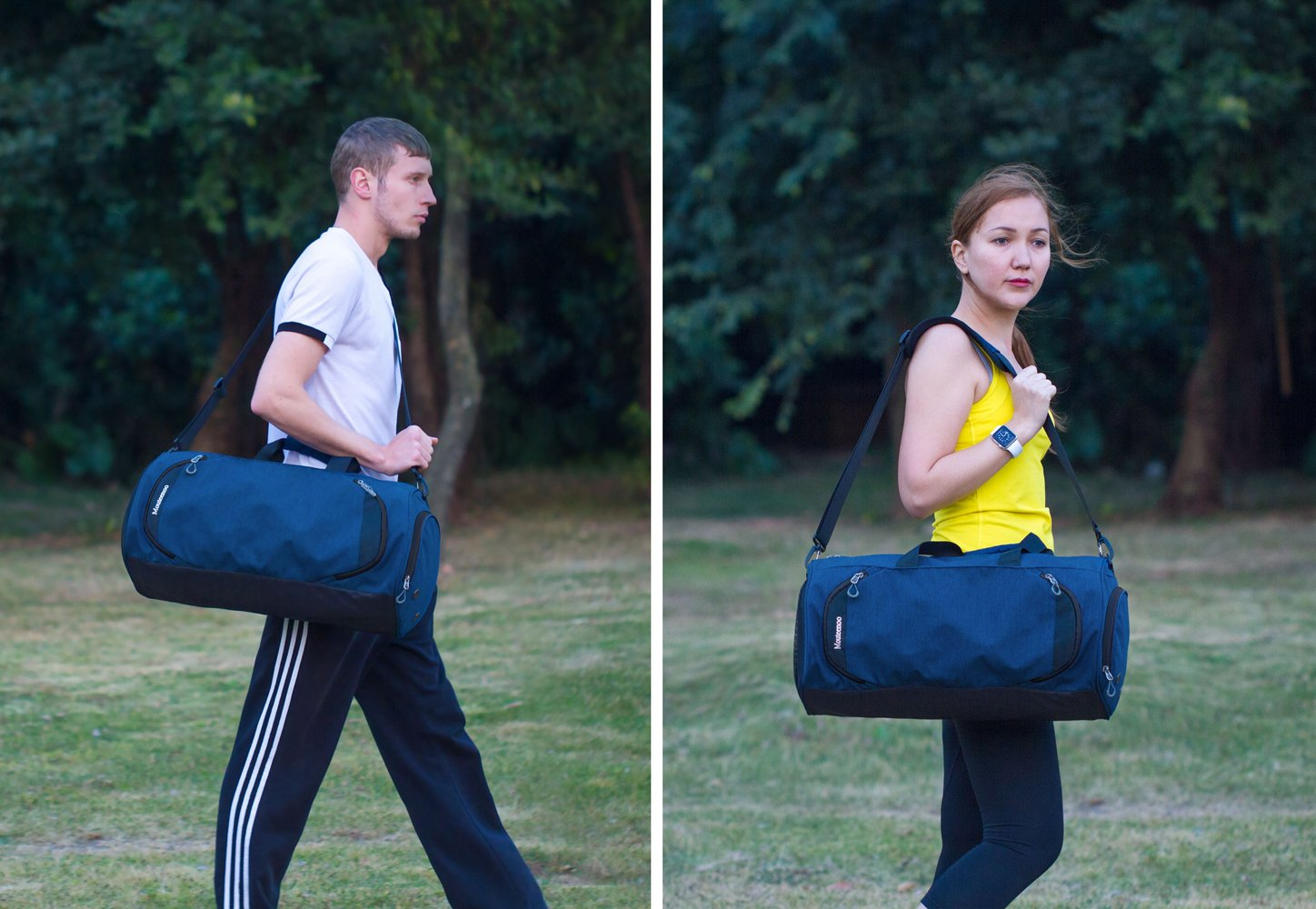Gym Sports Small Duffel Bag for Men and Women with Shoes Compartment - Mouteenoo (Small, Blue/Black) by Mouteenoo (Image #2)