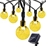 Cadena Luces Solares, Gloriz 7M 50LED 8 Modos Impermeable IP65 Guirnalda Luces Solares con Modelo de Ball para Jardin exterior/interior, árbol de Navidad, ventana valla bodas-Blanco Cálido