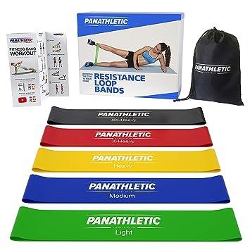 Fitnessbänder / Widerstandsbänder, 5er Set von Panathletic, mit Anleitung, eBook auf Deutsch und Tragebeutel – 5x Fitnessband