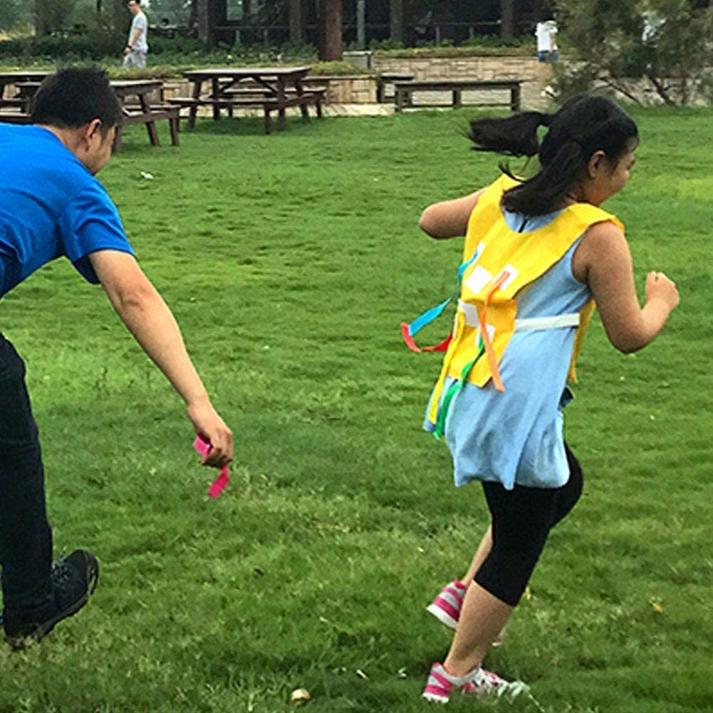 Dilwe Kid Sports Toys Vest,Dodge Tag Target Vest Sticky Tail Catch Toss Sports Game Kindergarten Kids Activity Light Blue