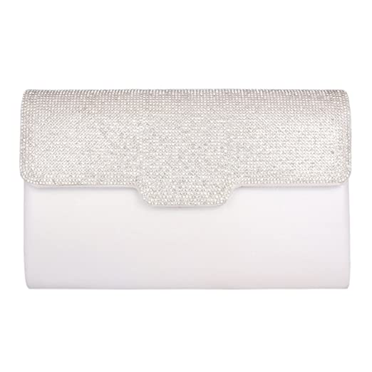 Adoptfade Femme Pochette Sac de Soirée Clutch avec Diamants Brillants,Blanc