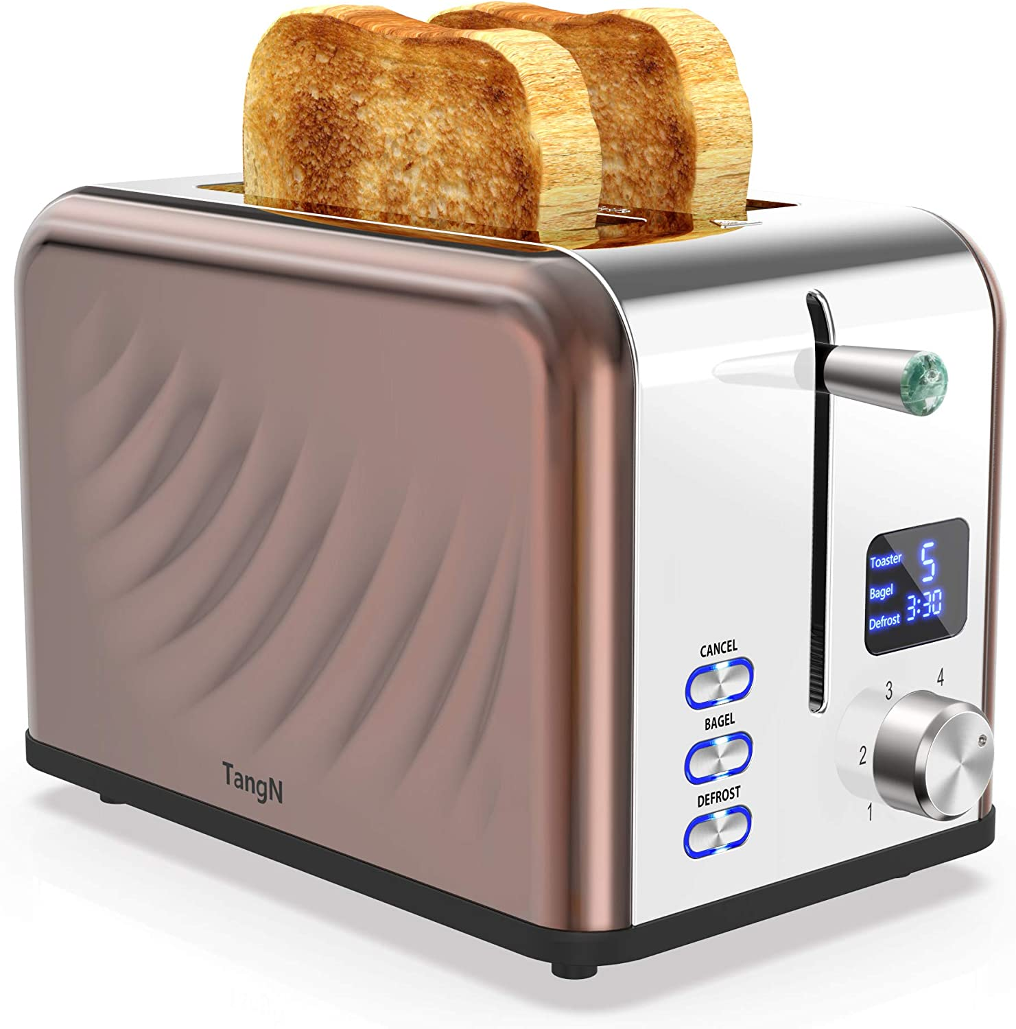 Toasters 2 Slice Best Rated Prime, Stainless Steel,Bagel Toaster - 6 Bread Shade Settings with big Timer/Bagel/Defrost/Cancel Function,1.5in Wide Slots,Removable Crumb Tray,for Various Bread Types