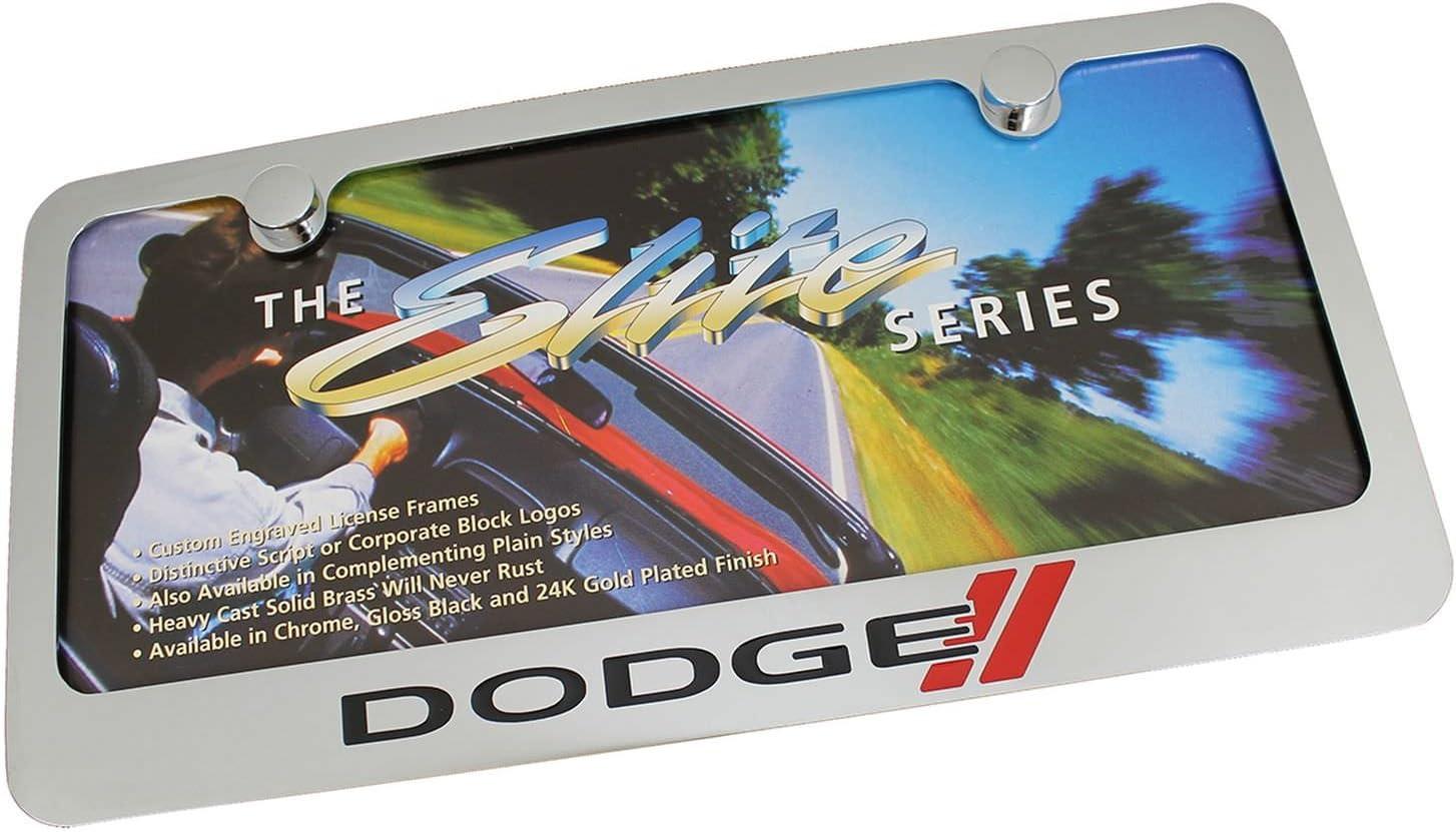 Dodge New Logo Chrome Brass License Plate Frame EL