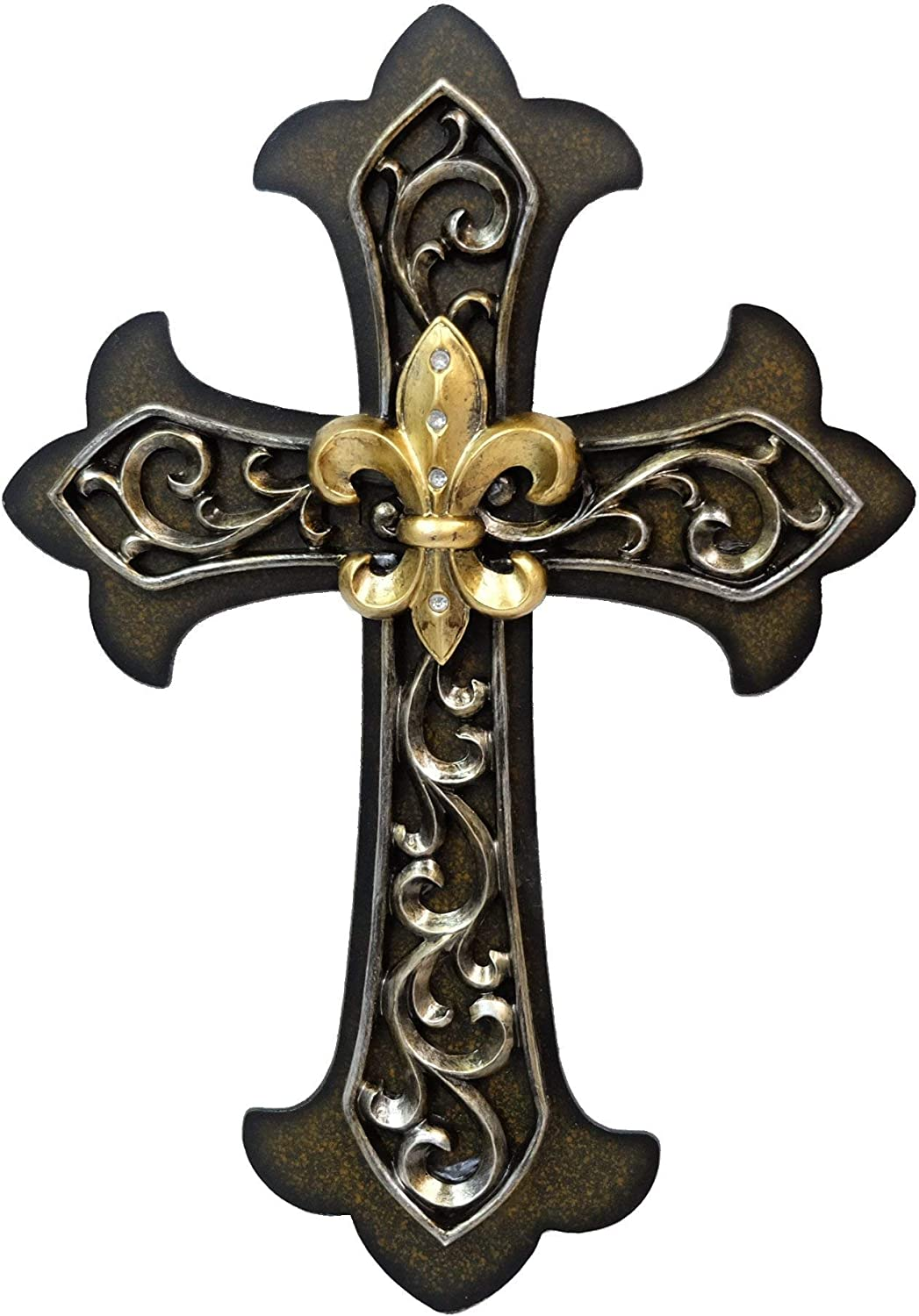 BestGiftEver Fleur De Lis Wall Cross with Gold FDL and Dark Bronze Scrolls Wall Art Plaque Home decoration 12.5""