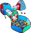 STLOVe Lektält för barn, anpassat barn lektunnel tält leksakstält pop up tält fort med förvaringsväska (inkluderar inte boll) │Fet tråd och förtjockat tyg │6 markspik + 2 basketbox+4 Darts+8 bollar