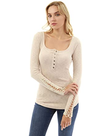 Pattyboutik Womens Henley Crochet Lace Inset Long Sleeve Top At