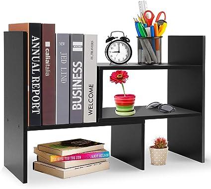 Hossejoy - Estantería de escritorio ajustable de MDF para almacenamiento de escritorio, estante para mostrador, color negro