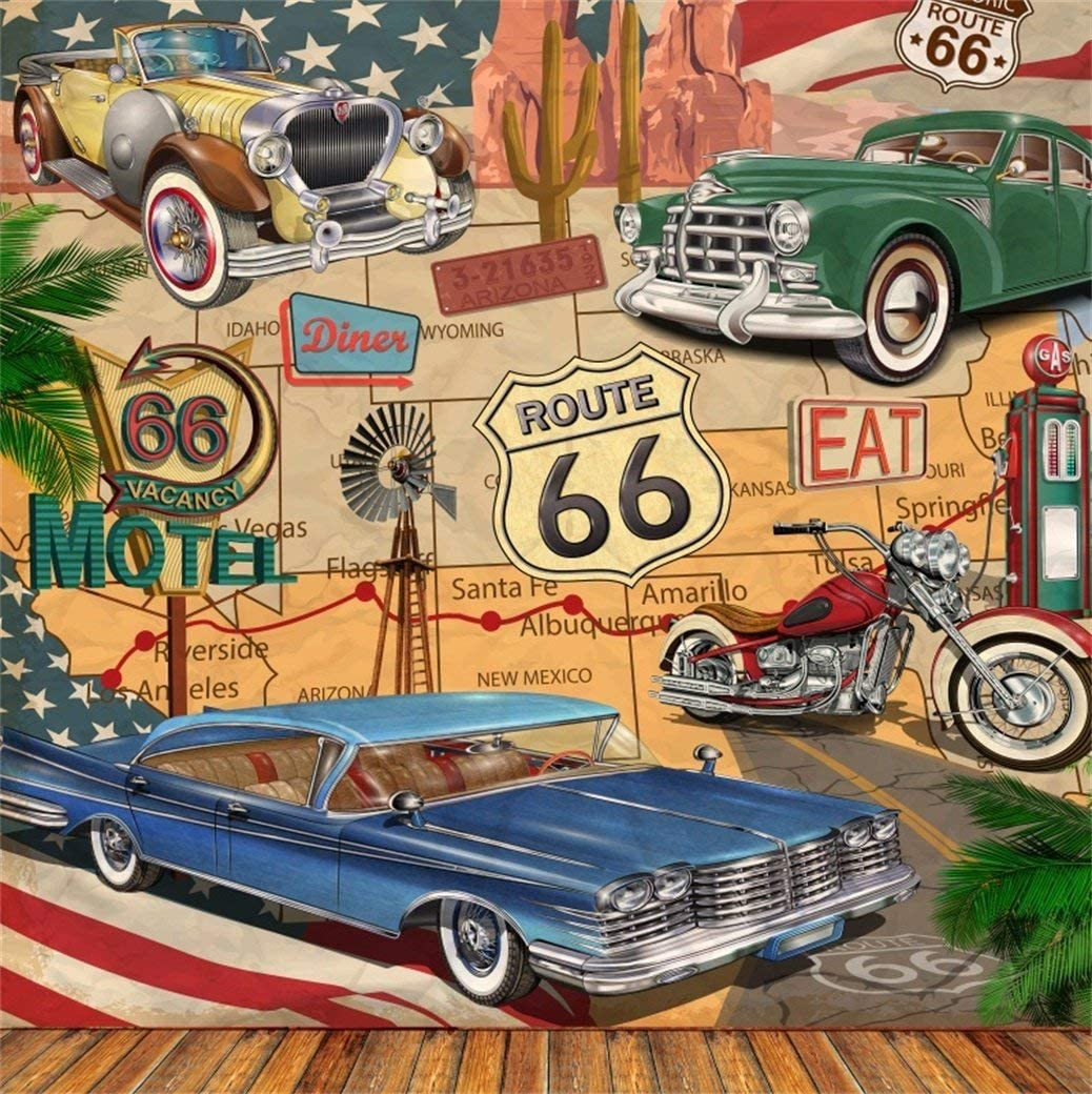 6x6ft Vintage Car Route 66 Backdrop Retro Motel Poster Photography Background Classic Signs Old Filling Station Tire Service Historic Motor Vehicle American Photo Studio Props Vinyl Wallpaper