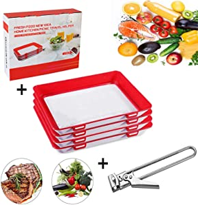 Creative Food Preservation Tray, Stackable Reusable Food Preservation Tray, Freezer Containers Food Storage Tray with Lid + Packing gift box +Stainless Steel Jar Opener (Red,4Pack)