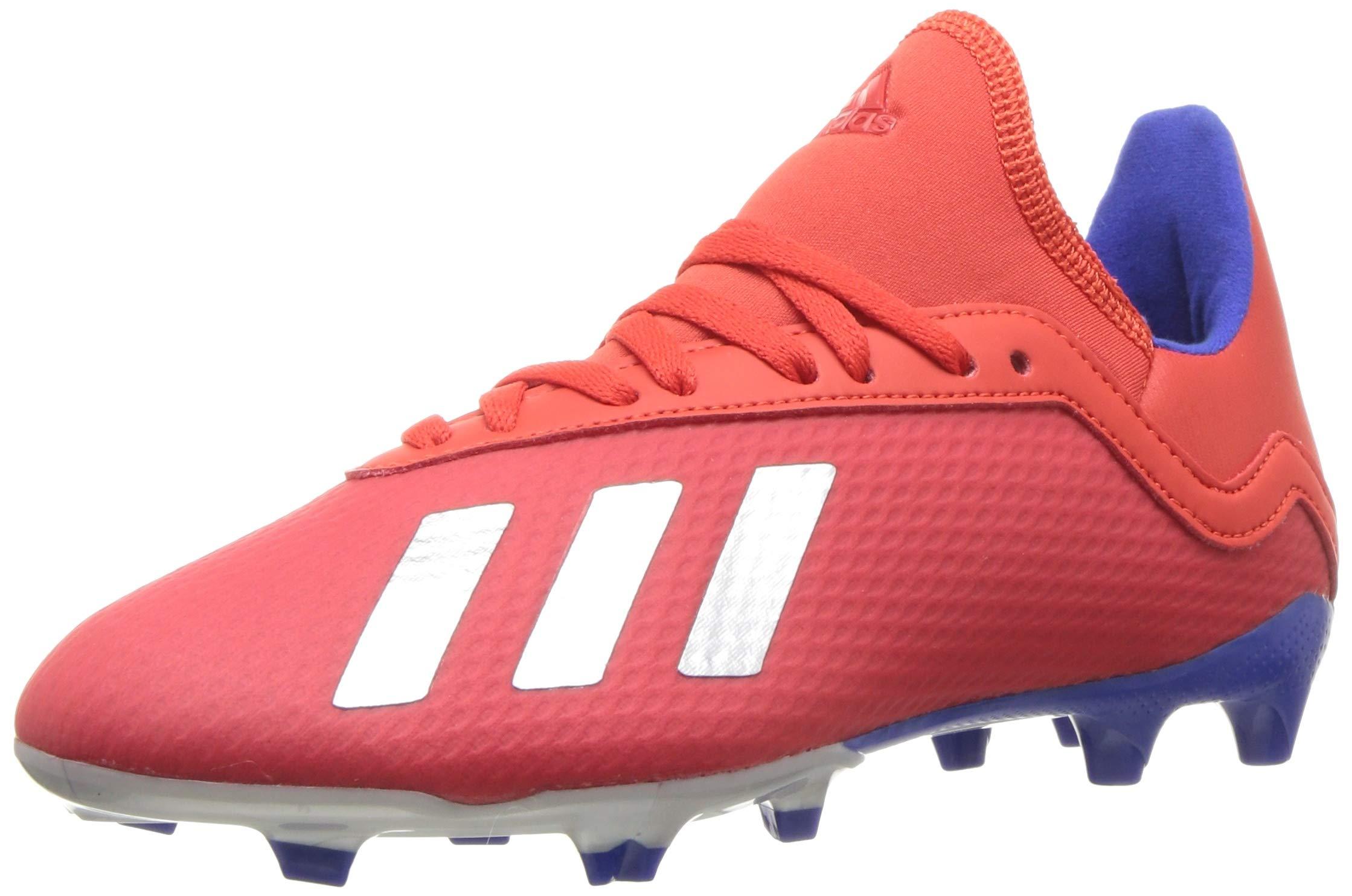 adidas X 18.3 Firm Ground, Active red/Silver Metallic/Bold Blue 4 M US Big Kid
