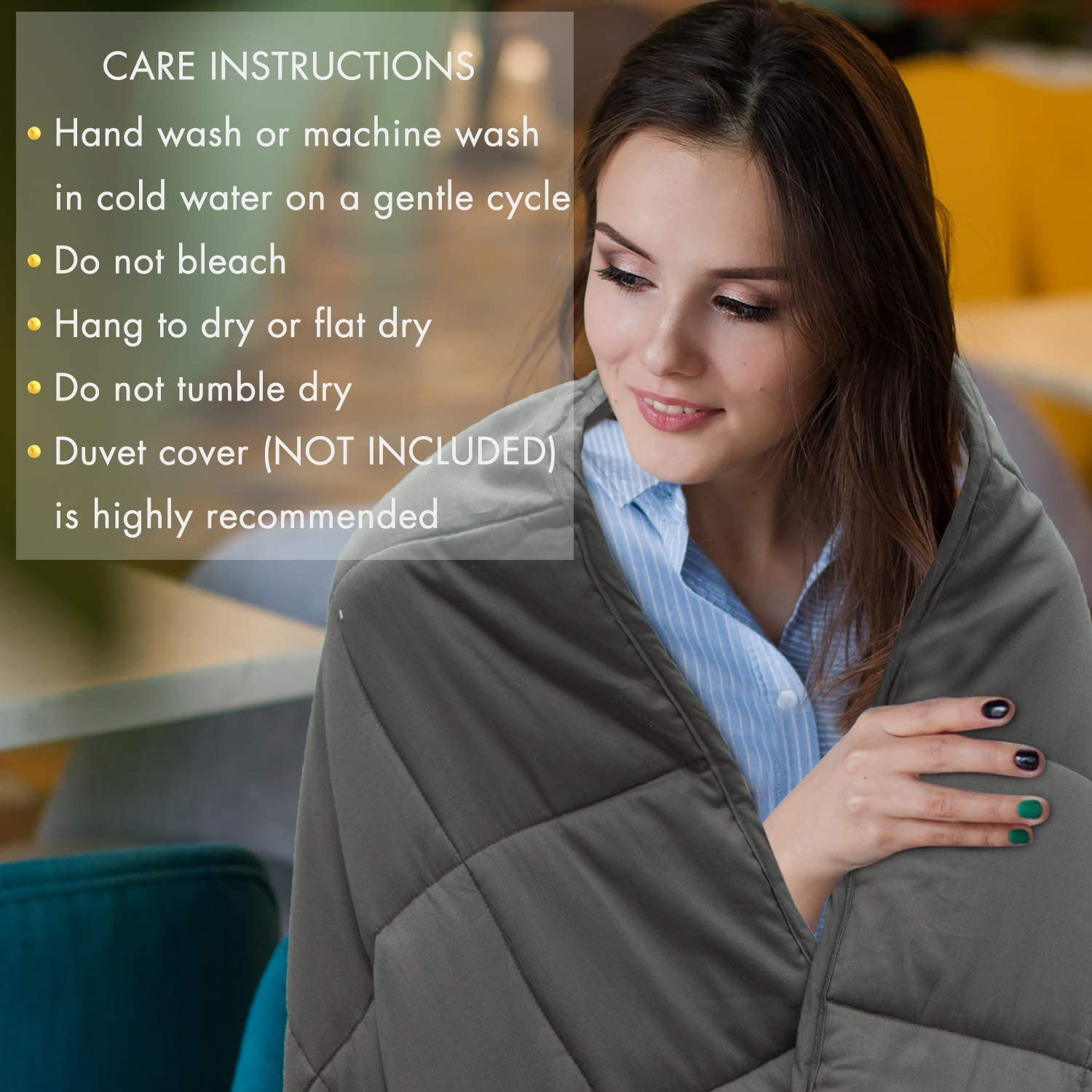 joybest Weighted Blanket 10 lbs for Kids About 90-120 lbs 41x60  Natural Cotton Material Premium Glass Beads Grey