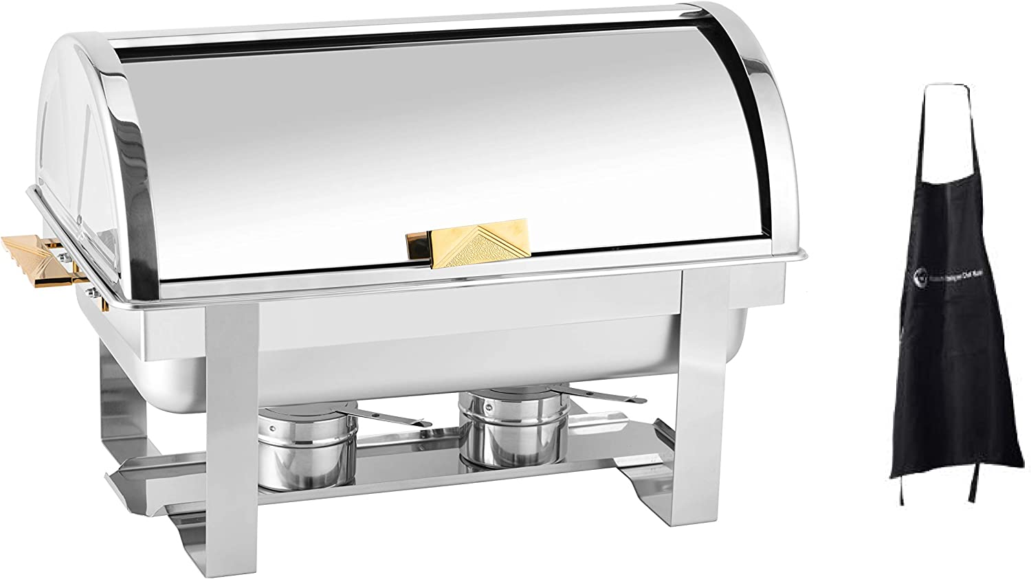 Roll Top Stainless Steel Chafing Dish 8qt Gold Accent by ChefMaid (8qt Gold Accent Chafing Dish)