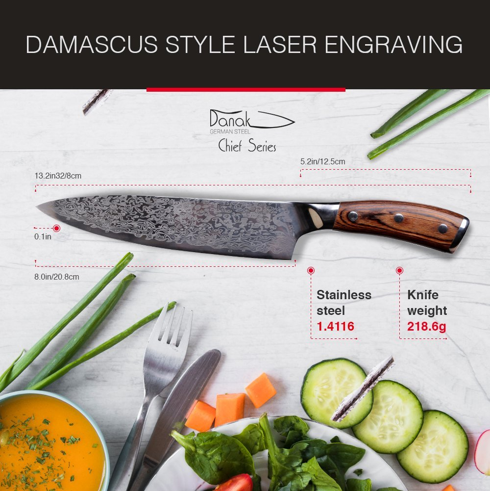 Danak Chef knife, 8 inch sharp German Carbon Stainless Steel Blade with wooden handle in ergonomic gift box, Kitchen knife, balanced knife for professional cooking by Danak (Image #3)