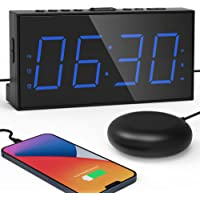 """Extra Loud Alarm Clock with Bed Shaker 7.5"""" Large LED Display with 5 Brightness Dimmer Vibrating Dual Alarm Clock for…"""