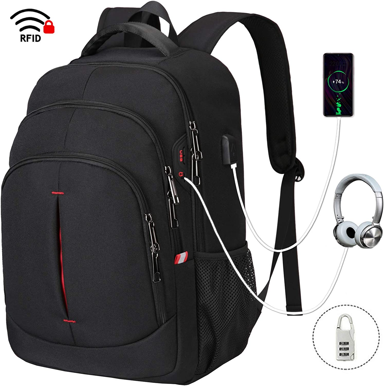 Gedone Laptop Backpack, Travel Business Backpack for Men & Women with USB Charging Port, Water Resistant Anti Theft School College Computer Back Pack Bag Fits Up to 15.6 Inch Notebook - Black