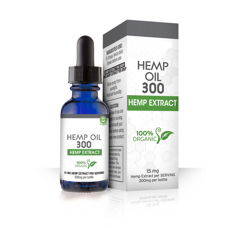 Absolute Nutrition Hemp Oil 300mg, Dropper Helps Anxiety, Chronic Pain, Sleep, Mood,Skin and Hair