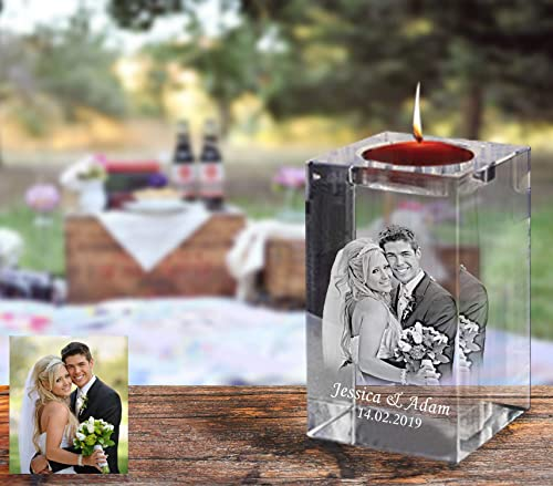 Personalized Laser Engraved Glass Candle Holder