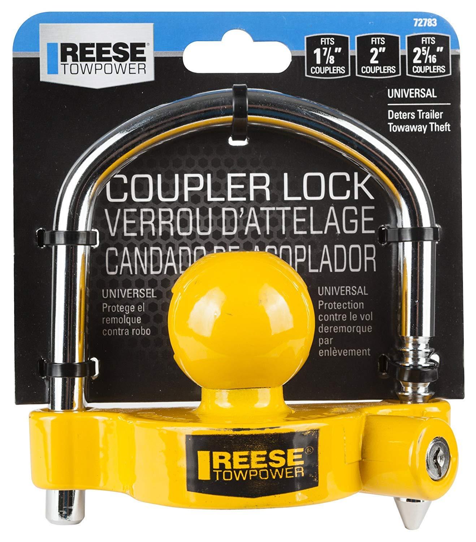 REESE Towpower 72783 Universal Coupler Lock Heavy-Duty Steel Adjustable Storage Security