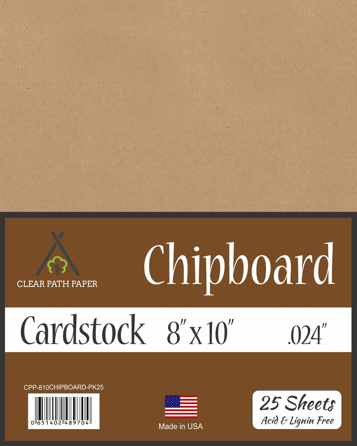 Chipboard - 8 x 10 inch - .024 Thick - 25 Sheets Clear Path Paper 4336978338