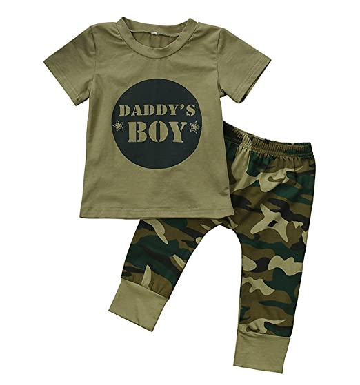 8454c5b707 Amazon.com: 2PCs Baby Boy Girl Words T Shirt Top Camouflage Pants Outfits  Clothes Set for 0-24 Months: Clothing