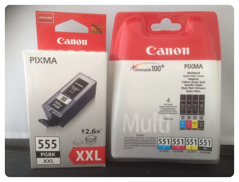 5 Cartuchos de Impresora Originales PGI-555 XXL Negro + CLI ...