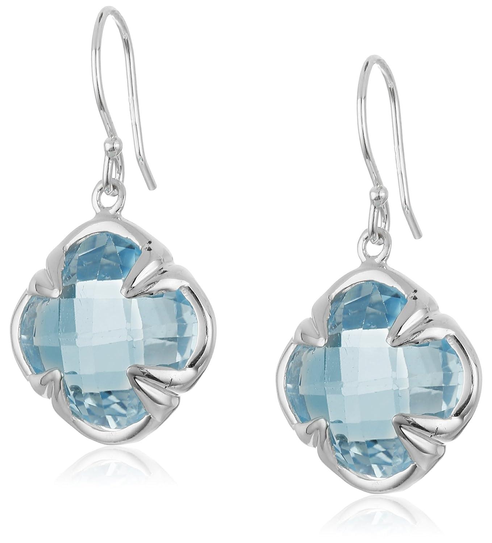 Blue Topaz Clover Dangle Earrings