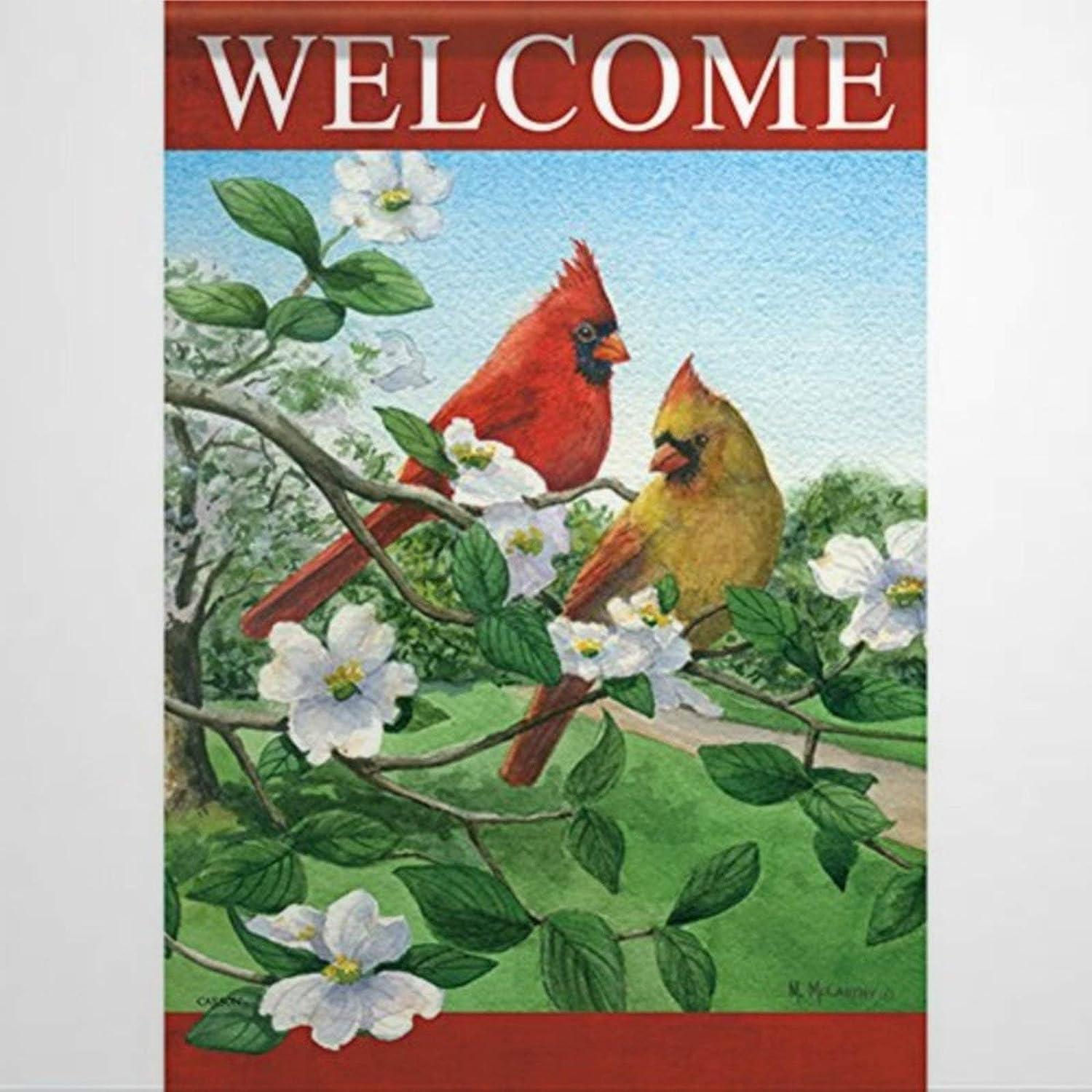 BYRON HOYLE Welcome Cardinals on Dogwood Garden Flag Decorative Holiday Seasonal Outdoor Weather Resistant Double Sided Print Farmhouse Flag Yard Patio Lawn Garden Decoration 12 x 18 Inch475154