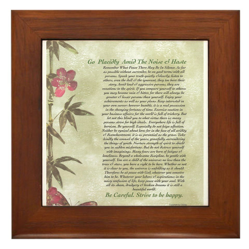 CafePress DESIDERATA Careful Bamboo Butterflies Framed Tile Standard by CafePress
