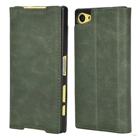 Mulbess (Slim Style) Premium Handy Schutzhülle Ledertasche im Kartenfach für Sony Xperia Z5 Compact Tasche Hülle Leder Etui S