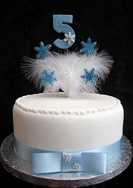 Frozen Birthday Cake Topper With Glittered Number Snowflakes Feathers Any Age 5 Amazoncouk Kitchen Home