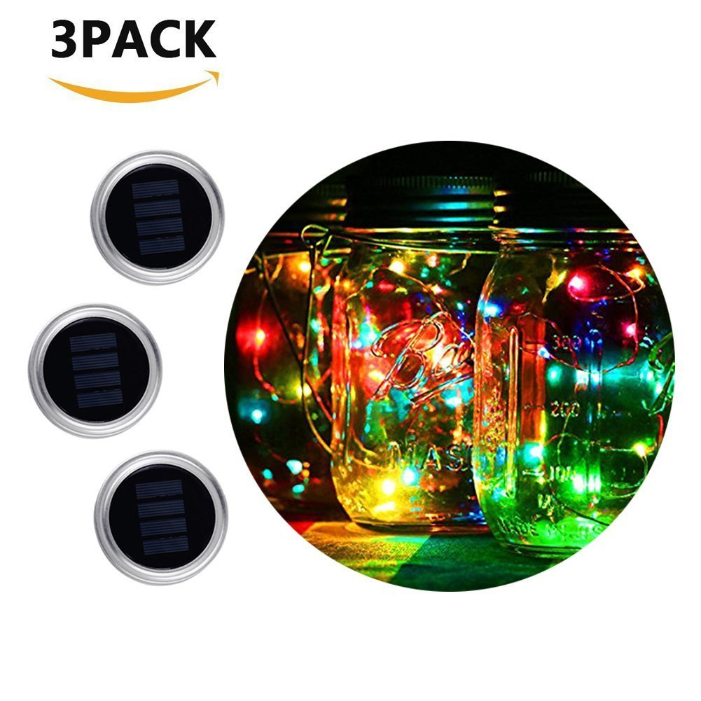 Mason Jar lights, 3-pack 10 LED Solar Powered Fairy Lights Lids, Regular Mouth Screw on Silver Lids for Wedding Christmas Party Deck Garden Decorative Lighting( Multi-color, Jars NOT Included)