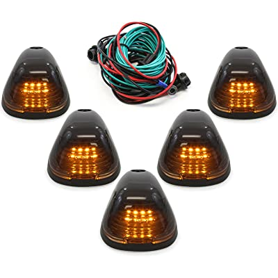 Red Hound Auto Compatible with Ford Super Duty 1999-2016 5-Piece Smoked Lens Amber LED Cab Roof Running Marker Light Set Complete Kit with Wiring Harness: Automotive [5Bkhe1513235]