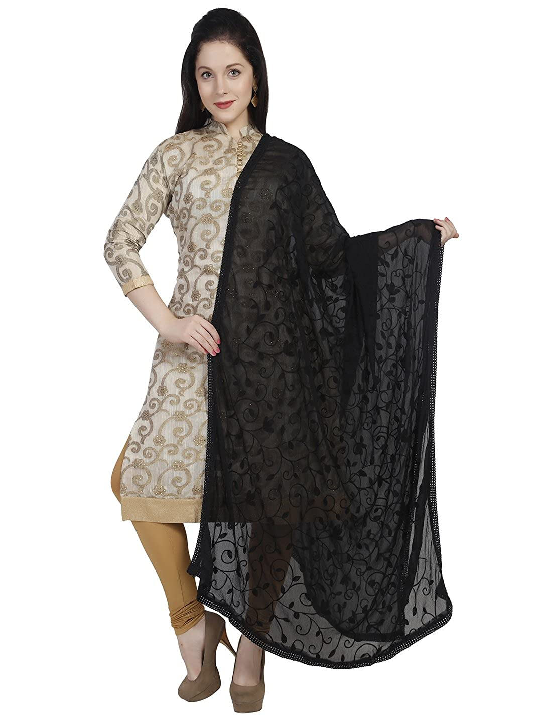 a05a0402ce9 Inject a cool vibe to your look with this soft wrap shawl made of chiffon  with beautiful aari work exalting lavish elegance and charming look to your  style.