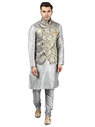 Buy Uri and MacKenzie Men's Grey Kurta Pyjama with Designer Ethnic Nehru  Jacket (40, Grey Silver) at Amazon.in
