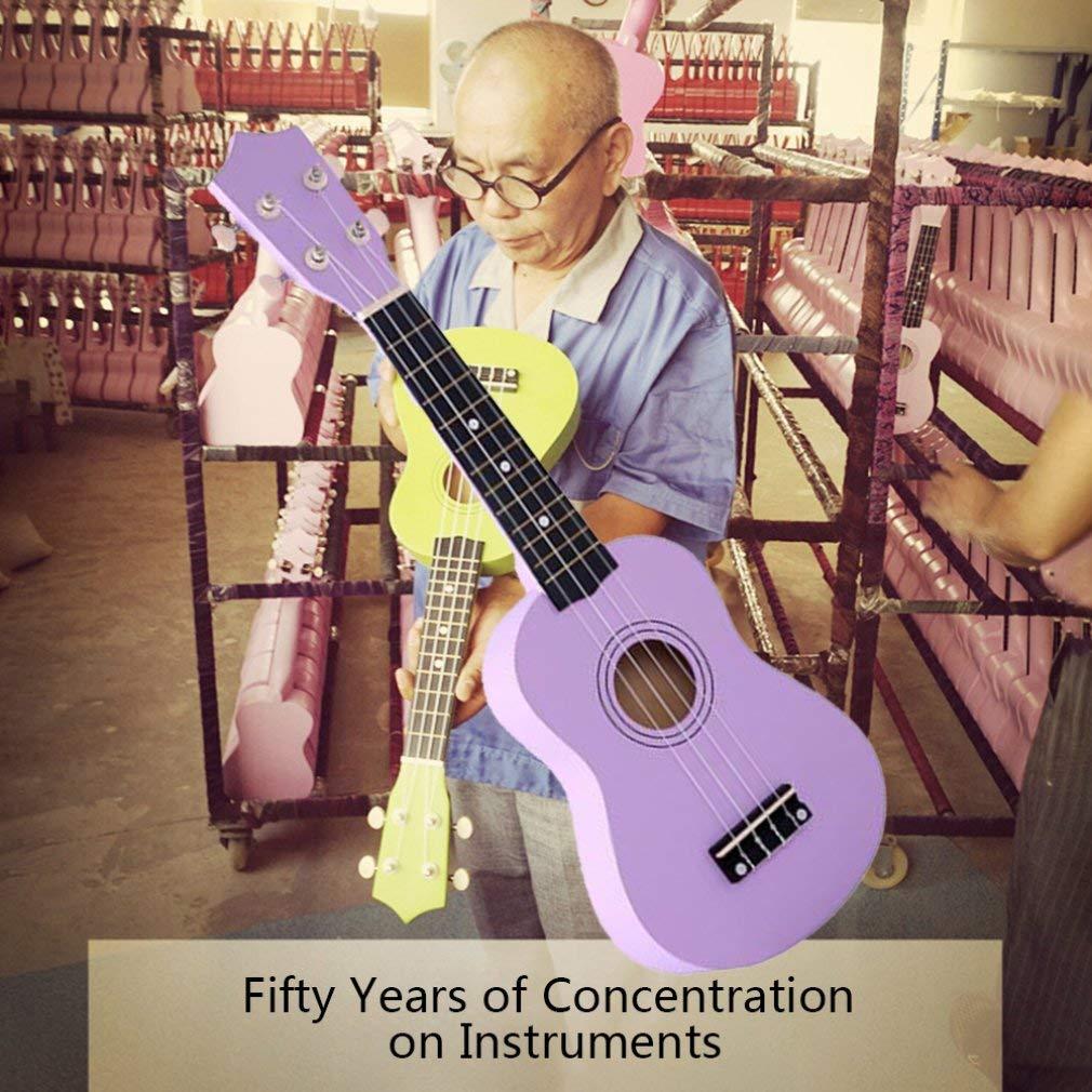 Color Morado Instrumento Musical de Juguete Kitechildhood Guitarra de simulaci/ón de Ukelele de Madera para ni/ños de 53,34 cm
