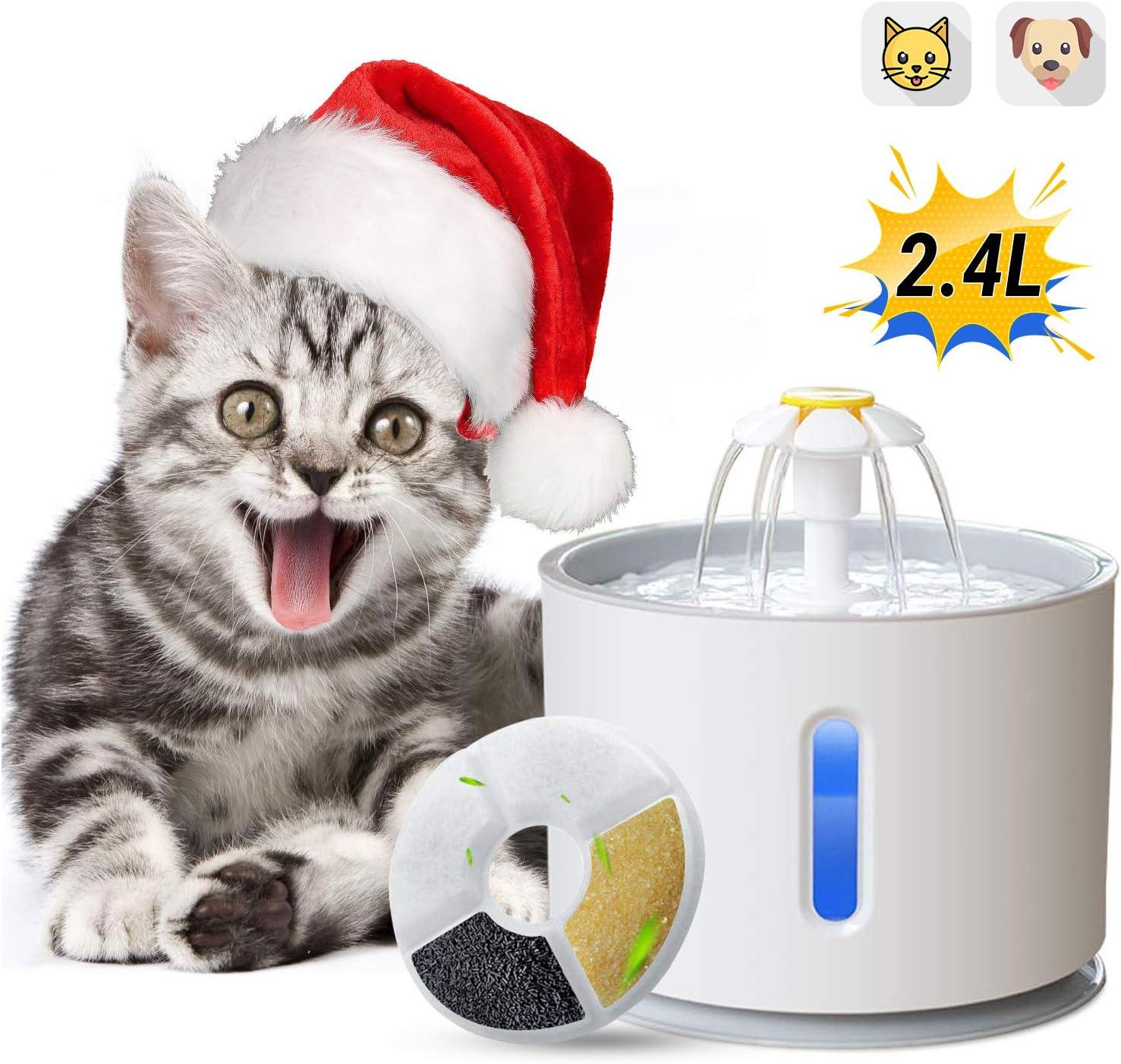 ADOV Fuente para Gatos, 2.4L Dispensador Automático de Agua Eléctrico con Luz LED y Filtro de Reemplazable, Flor Portátil Estilo Bebedero para Gatos, Perros y Pequeños Animales (Gris)