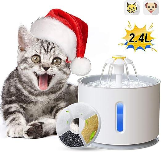 ADOV Fuente para Gatos, 2.4L Dispensador Automático de Agua ...