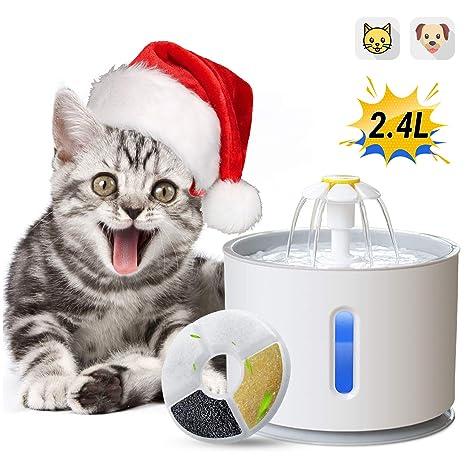 ADOV Fuente para Gatos, 2.4L Dispensador Automático de Agua Eléctrico con Filtro de Repuesto, Flor Portátil Estilo Bebedero Mascotas para Perros y ...