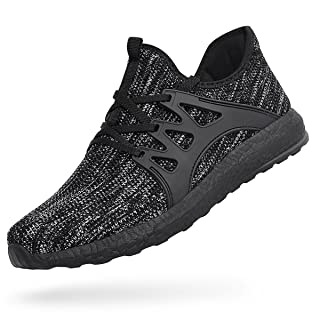 Feetmat Mens Tennis Shoes Non Slip Mesh Walking Gym Sneakers Lightweight Slip On Running Athletic Workout Shoes Grey Black 12.5