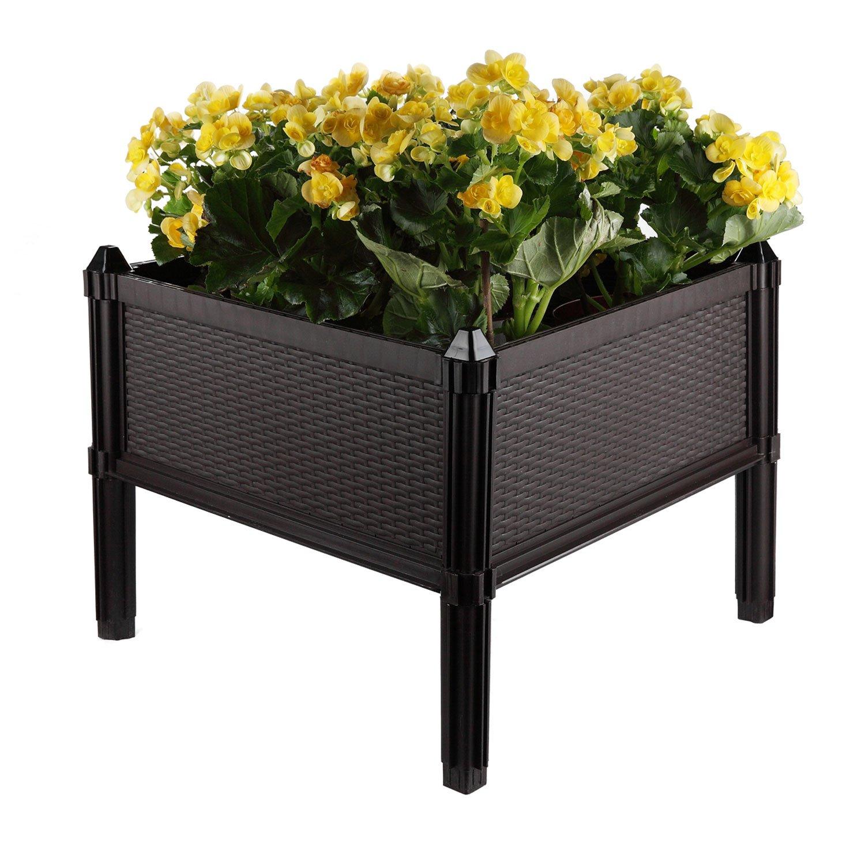 T4U Plastic Assemble Garden Planter Raised Elevated Garden Bed, for Herbs, Flowers, Vegetable Gardening - Brown