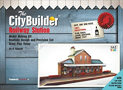 The CityBuilder O Gauge 1:48 Scale Railroad Station Cardboard Model Making  Kit Model Railroad Building