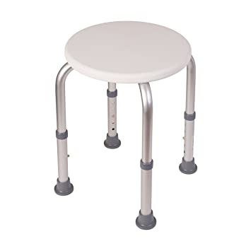 HealthSmart Extra Compact Lightweight Shower Stool With Adjustable Height,  Excellent For Small Showers And Bathtubs