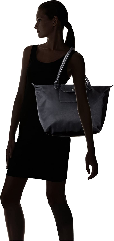 Auth Longchamp Le Pliage Neo Medium/Large Shopping Tote Handbag Bag Black