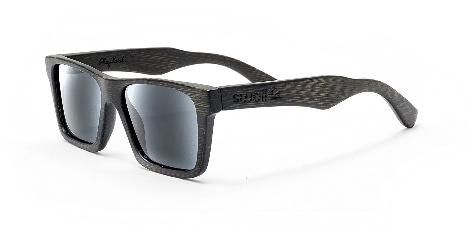 Charcoal Black Bamboo Wood Sunglasses x Smoke Lens