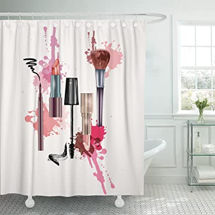 Amazon Emvency Shower Curtain Pink Cosmetics And Make Up Artist