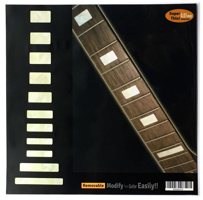 Griffbrett Marker Inlay Aufkleber Decals fü r Gitarre & Bass –  Vintage Block Inlaystickers F-007VB-WT