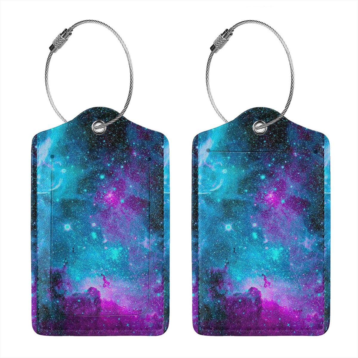 Key Tags for Christmas Birthday Couples Gift Purple Galaxy Sky 2.7 x 4.6 Blank Tag Leather Luggage Tags Full Privacy Cover and Stainless Steel Loop 1 2 4 Pcs Set