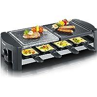Severin 2683 - Raclette con piedra de grill natural, 1.300 W, 8 mini- sartenes antiadherentes, color piedra y negro